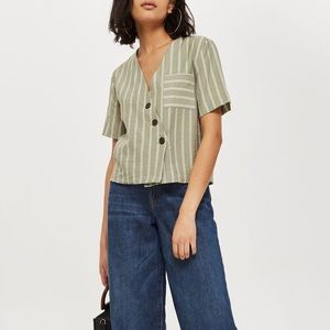 Topshop Striped Linen Shirt w/ Buttons In Sage